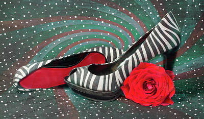 Photograph - Zebra Peep Toes With Red Rose by Patti Deters