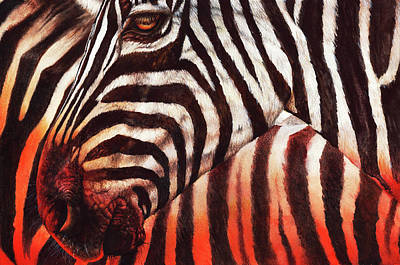 Painting - Zebra Sunset by Peter Williams