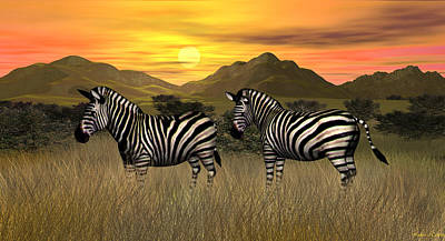 Digital Art - Zebra Sunset by Walter Colvin