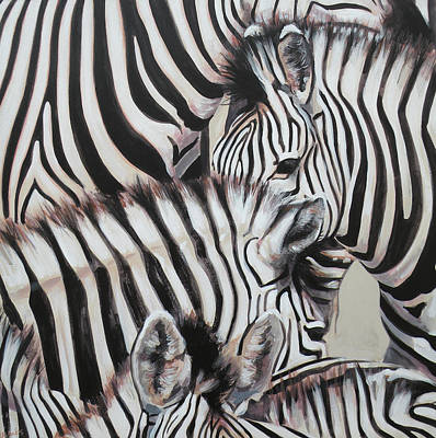Wildlife Painting - Zebra Triptyche Left by Leigh Banks
