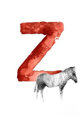 Painting - Zebra Watercolor Alphabet Minimalist Painting by Joanna Szmerdt