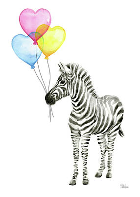 Zebra Art Painting - Zebra Watercolor Baby Animal With Balloons by Olga Shvartsur