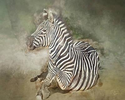 Mixed Media - Zebra Watercolor by Teresa Wilson