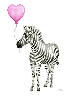 Zebra Art Painting - Zebra Watercolor Whimsical Animal With Balloon by Olga Shvartsur