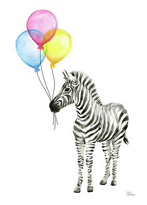 Zebra Art Painting - Zebra With Balloons Watercolor Whimsical Animal by Olga Shvartsur