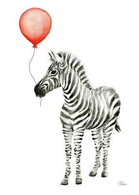 Zebra Art Painting - Zebra With Red Balloon Whimsical Baby Animals by Olga Shvartsur