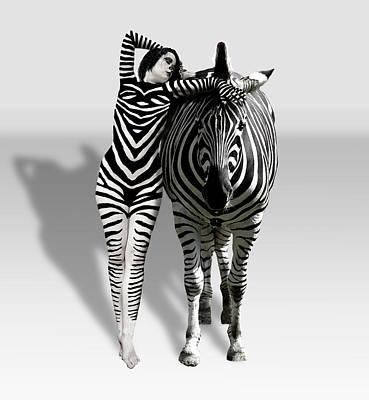 Zebra Woman Art Print by Lloyd Burchell