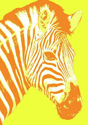 Digital Art - Zebra - Yellow by Gary Hogben