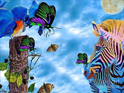 Painting - Zebras Birds And Butterflies Good Morning My Friends by Saundra Myles