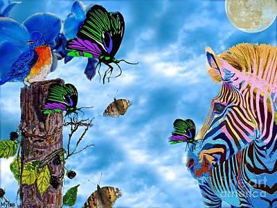Zebras Birds And Butterflies Good Morning My Friends Art Print