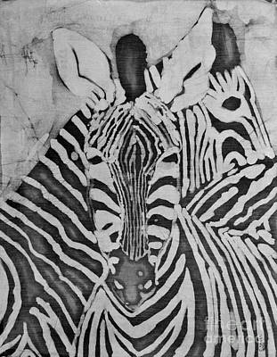 Carolinestreetart Mixed Media - Zebras by Caroline Street