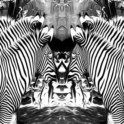 Nature Abstract Drawing - Zebras In Black And White by Tim LA