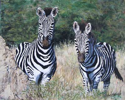 Painting - Zebras In South Africa by Jack Skinner