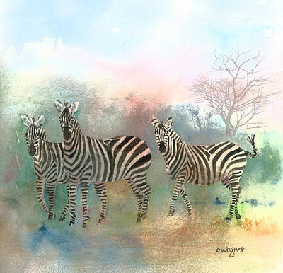 Stripe Painting - Zebras In The Mist by Arline Wagner