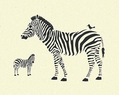 Zebra Digital Art - Zebras by Jazzberry Blue