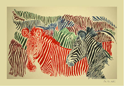 Painting - Zebras Of A Different Color by Dee Van Houten
