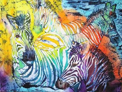 Wax Resist Painting - Zebras On Watch Series 006 by Jennifer Raby