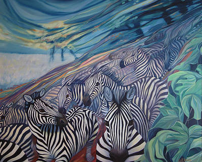 Zebras Unravelling Art Print by Gill Bustamante