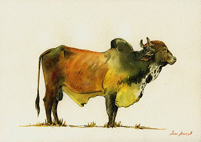 Decals Painting - Zebu Cattle Art Painting by Juan  Bosco
