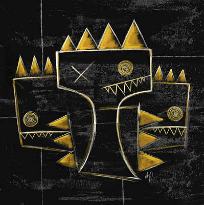 Painting - Zeeko Abstract - Golden Crown - Black And Gold by Roly Orihuela