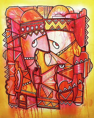 Painting - Zeeko Sun Tribe - Red And Yellow Abstract Artwork by Rolyo