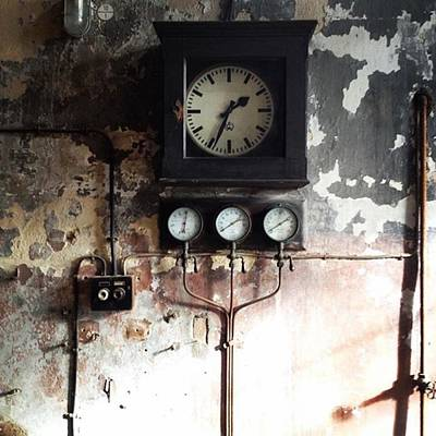 Machine Photograph - Zeitmaschine #time #clock #industrial by Sabina Balaguer