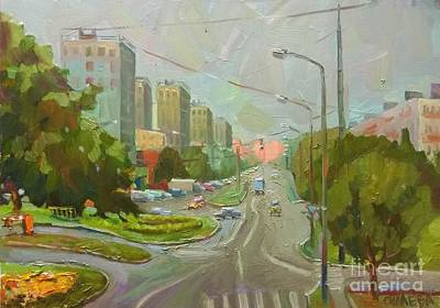 Painting - Zelenograd. Central Avenue by Nina Silaeva