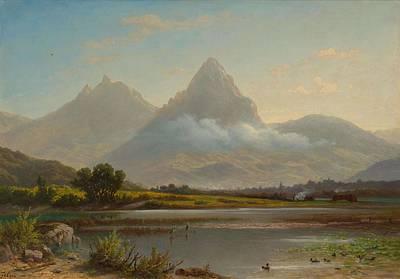Painting - Zelger  Jakob Joseph Stans 1812   1885 Lucerne Lake Lauerz. by Artistic Panda