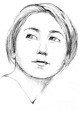 Musicians Drawings - Zemfira. 2000 by Tasha Chernyavskaya