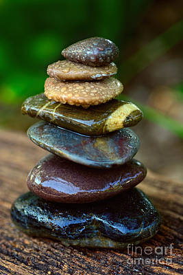 Photograph - Zen Art Balance Wet Rocks By Kaye Menner by Kaye Menner