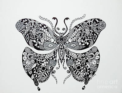 Drawing - Zen Butterfly by Tamyra Crossley