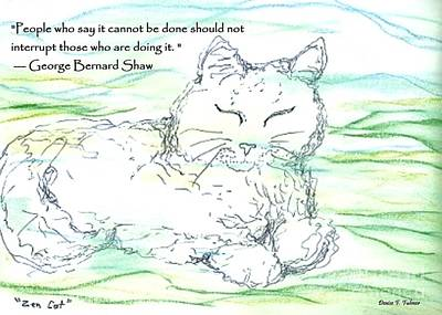 Drawing - Zen Cat by Denise Fulmer