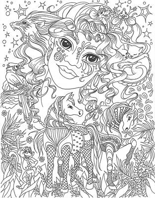 Crazy Horse Drawing - Zen Crazy Hair by Dixie Andrew