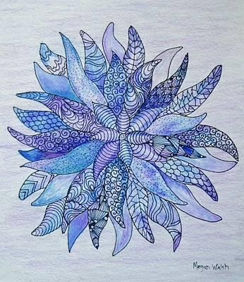 Lavender Drawing - Zen Flower Mandala by Megan Walsh