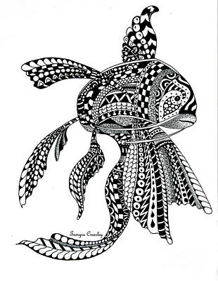 Drawing - Zen Goldfish by Tamyra Crossley