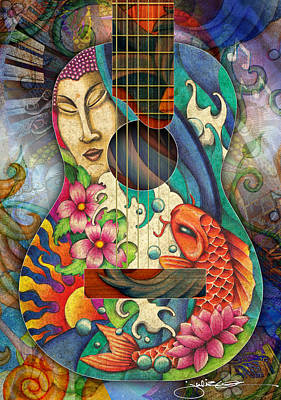 Koi Drawing - Zen Guitar by Julie Oakes