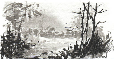Print featuring the painting Zen Ink Landscape 3 by Sean Seal