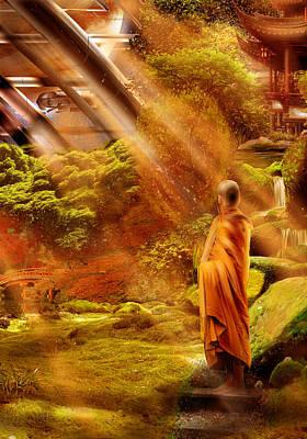 zen monastery on orbital station, Jupiter Art Print