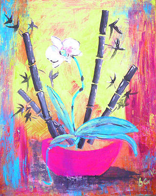 Abstract Leaves Painting - Zen Orchid Bamboo Sunrise by Dagmar Batyahav