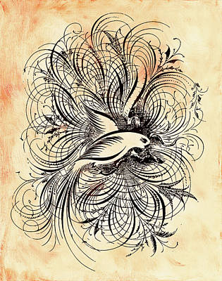 Zen Ornamental Dove Minimalism Art Print
