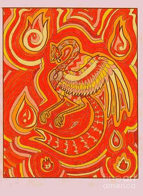 Drawing - Zen Phoenix by Wendy Coulson