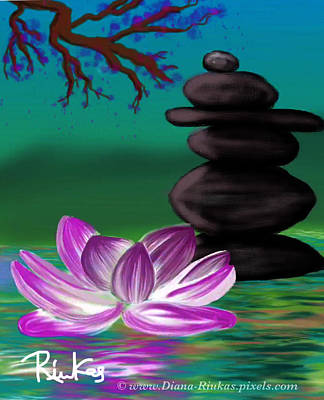Digital Art - Zen Pool- Night by Diana Riukas