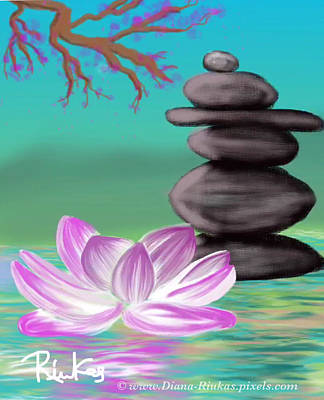Digital Art - Zen Pool- Turquoise by Diana Riukas