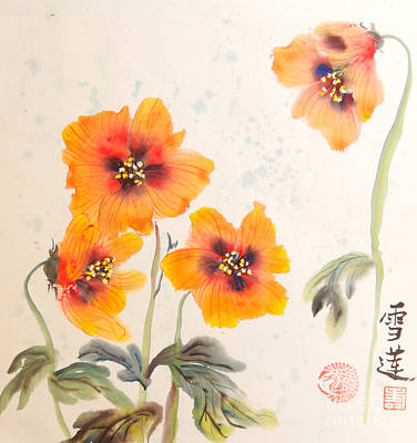 Zen Poppies Original by Sharon Nelson-Bianco