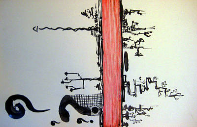 Painting - Zen Red Line by Raul Morales