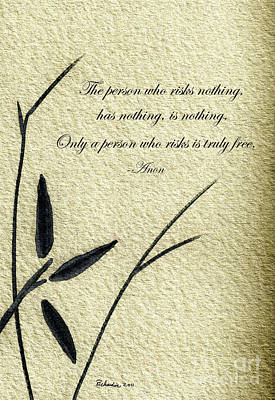 Mixed Media - Zen Sumi 4c Antique Motivational Flower Ink On Watercolor Paper By Ricardos by Ricardos Creations