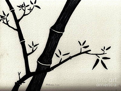 Zen Sumi Antique Bamboo 2a Black Ink On Fine Art Watercolor Paper By Ricardos Art Print by Ricardos Creations
