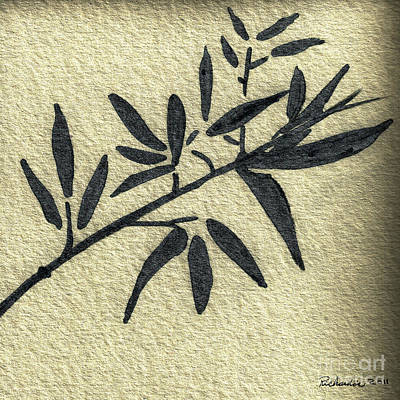 Mixed Media - Zen Sumi Antique Botanical 4a Ink On Fine Art Watercolor Paper By Ricardos by Ricardos Creations