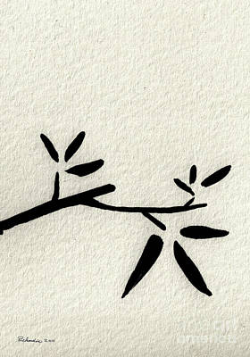 Mixed Media - Zen Sumi Antique Branch 2a Black Ink On Fine Art Watercolor Paper By Ricardos by Ricardos Creations