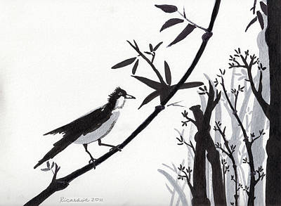 Zen Sumi Bird 1a Black Ink On Watercolor Paper By Ricardos Original by Ricardos Creations